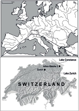 Switzerland, located in central Europe, is famous for its numerous Neolithic lakeshore dwellings. In this study we focus on Arbon Bleiche 3 at Lake Constance and a range of sites in the lower Lake Zurich region.